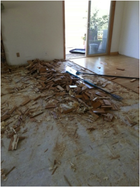 Removal of our floors due to water damage, March 2013