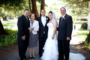 My family on my wedding day. From left to right: Marcos (my brother), Mirtha (my mom), Ryan (my husband), me and Fred (my dad, a.k.a Pop).