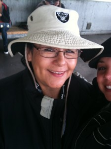 Mom getting ready for a Raiders game in 2009, two years before diagnosis.