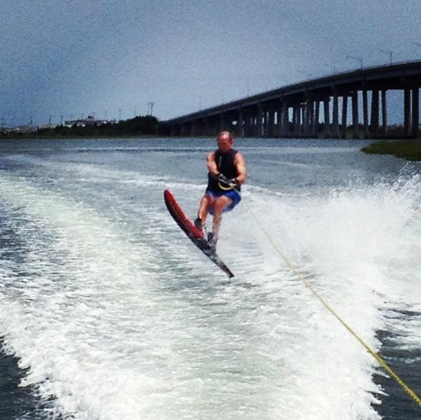 Dad waterskiing