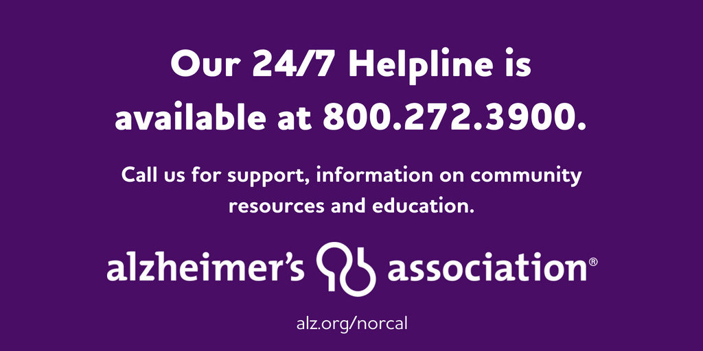 Alzheimer's Association Helpline information 800.272.3900