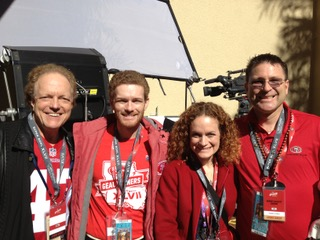 Bruce Pasternack, Joanne, her husband and Dan pose for a picture at Super Bowl XLVII