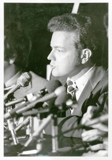 Bruce Pasternack as a young man talking to the media about the environment