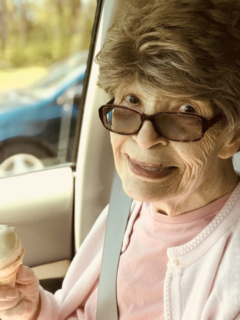 Elizabeth's mom, who had Alzheimer's is holding her favorite ice cream