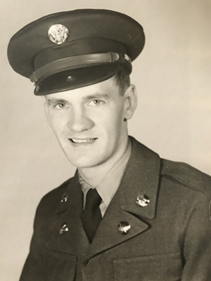 Corporal Art Curtis, who had Alzheimer's, as a young man in the Army