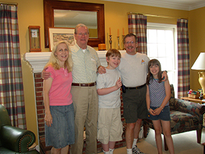 Art, who had Alzheimer's, with his son and grandchildren