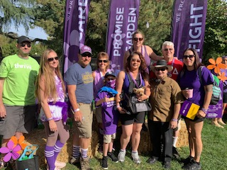 Margo and her friends and family at the Modesto Walk to End Alzheimer's