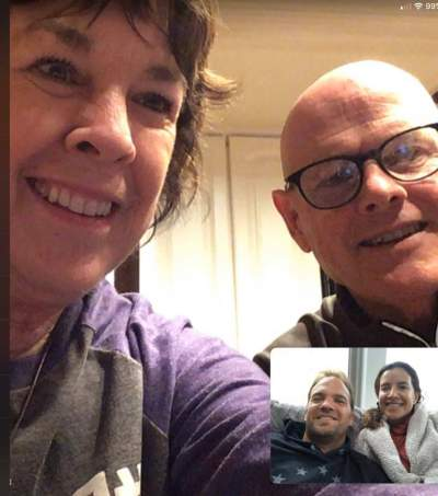 Pam and Bob, connecting with family via video