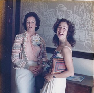 Francie poses with her mother in law Betty who had Alzheimer's at a wedding