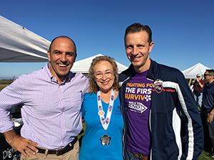 Francie, Congressman Jimmy Panetta and Coutny Supervisor Zach Friend at the Santa Cruz Walk to End Alzheimer's.