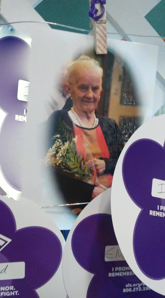 A photo of Margie on the Walk to End Alzheimer's memory wall