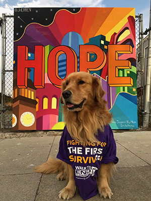 Brixton in his Walk to End Alzheimer's shirt