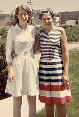 Joan on her graduation day with her mother who would later have Alzheimer's