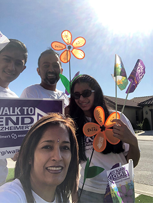 Akhil and his family walking for the Fresno Walk to End Alzheimer's