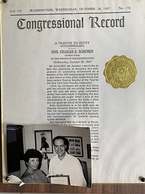 A congressional record given in 1987 to Betty, who now lives with dementia