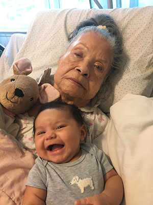 Maria's son and mother who is living with Alzheimer's