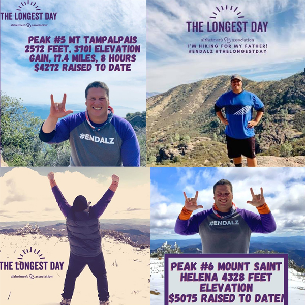 Jason poses on the top of four different mountains in honor of his father for The Longest Day