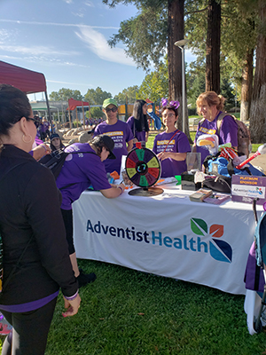 Carol's team's booth at the Walk to End Alzheimer's