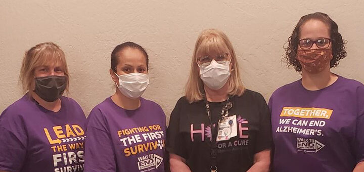 Carol and her coworkers ready for the Yuba City Walk to End Alzheimer's
