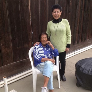 Sylvia stands with her mother Nina who has Alzheimer's disease