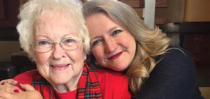 Karen DeHart hugs her mom who had Alzheimer's